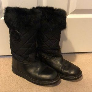Tory Burch Black Leather & Fur Winter Ankle Boots